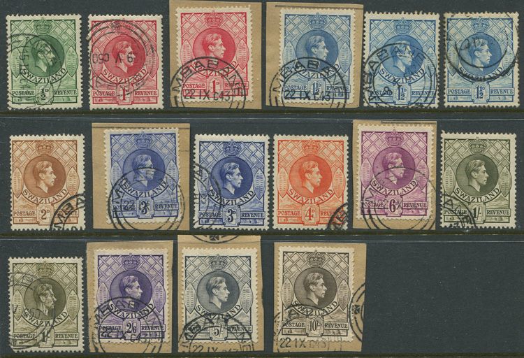 1938-54 Swaziland set to 10/- (SG28-38)