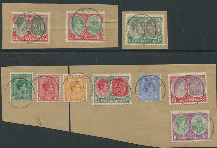 1938-50 St Kitts Nevis original set to 5/- (SG68-77)