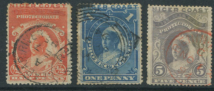 1894 Niger Coast ½d, 1d and 5d (SG45, 46 and 49)