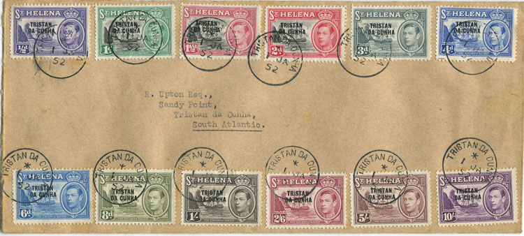 1952 Tristan Da Cunha set to 10/-  (SG1-12) on F.D.C.