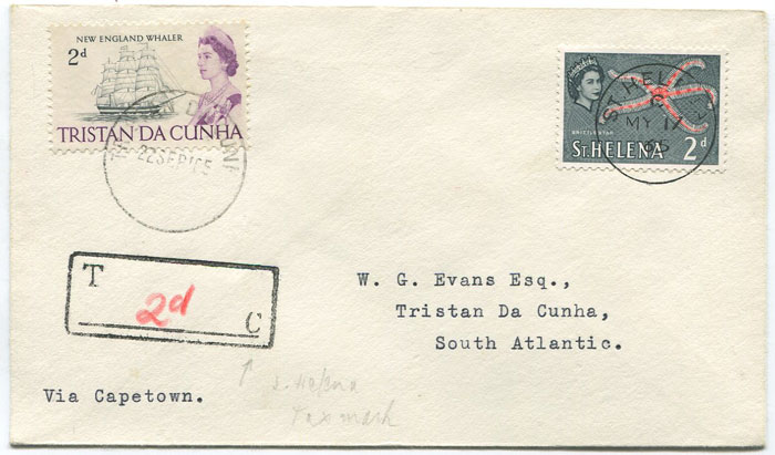 1965 TRISTAN DA CUNHA 2d (SG74) used as postage due