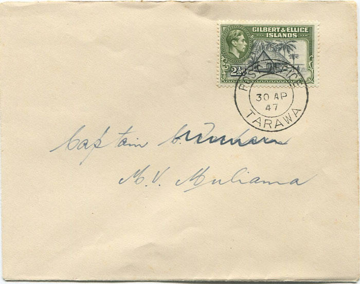 1947 POST OFFICE TARAWA cds postmark on Gilbert & Ellis Is.