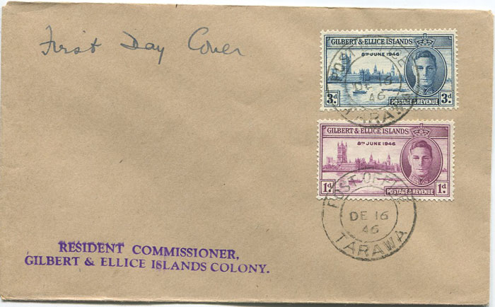 1946 POST OFFICE TARAWA cds postmark on Gilbert & Ellis Is. Victory pair F.D.C.