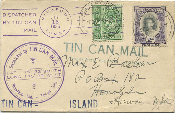 1936 Tonga Tin Can Mail cover