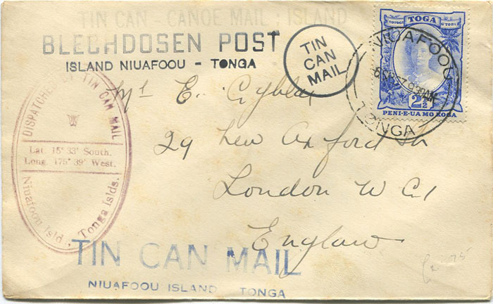 1937 Tonga Tin Can Mail cover