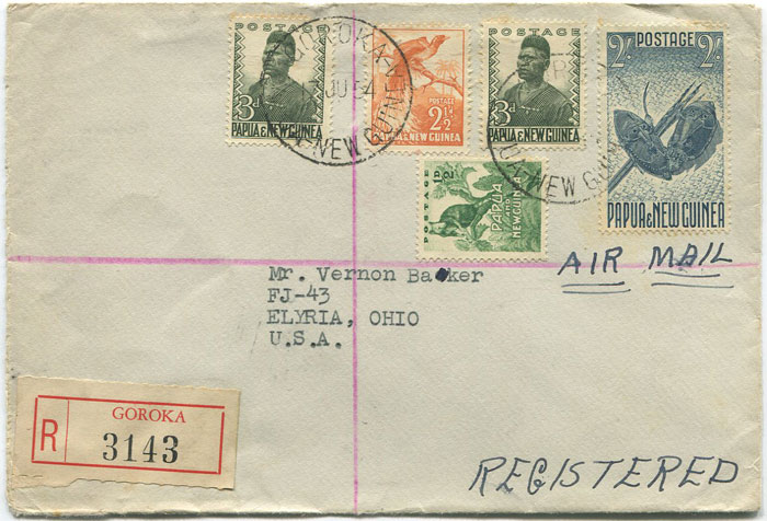 1954 Papua New Guinea registered airmail cover from Goroka