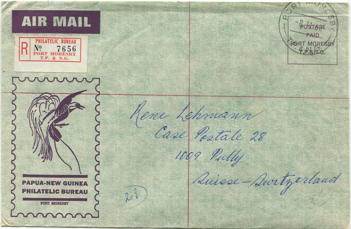 1968 Papua New Guinea registered Official Paid cover