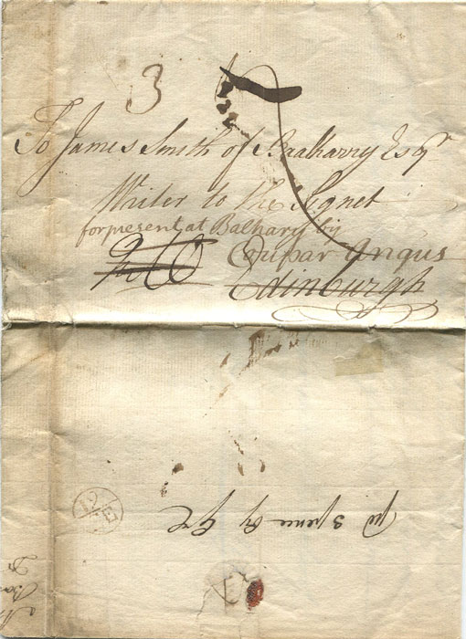 1752 (25 Jun) EL from Simon Hunter in Barbados to James Smith in Edinburgh, redirected to Cupar Angus