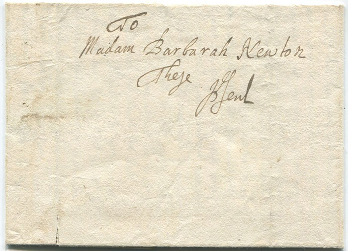 1686 (26 Mar) Barbados local EL from Ben Cryer to Barbara Newton