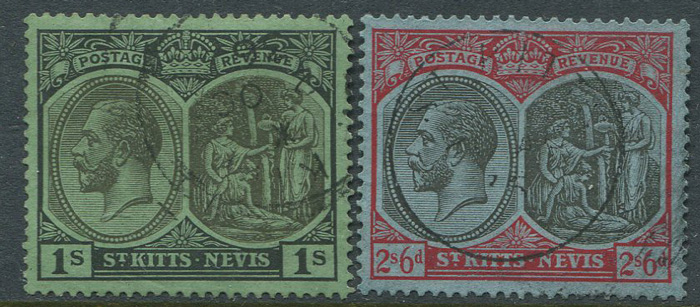 1921-9 St Kitts Nevis Script CA vals to 2/6d,