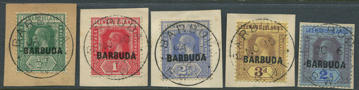 1922 Barbuda values to 2/- (SG1-9)