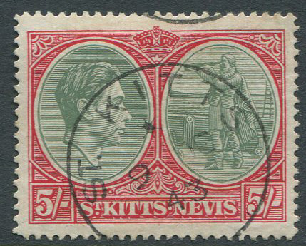 1938-50 St Kitts Nevis perf 14, 5/- (SG77a)