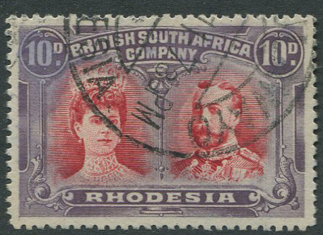 1910-3 Rhodesia perf 14 10d carmine and deep purple (SG150)