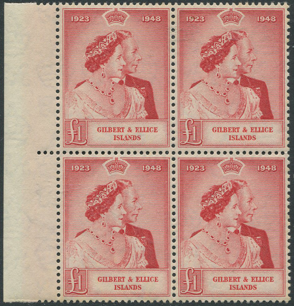 1949 Gilbert & Ellis Is. Royal Silver Wedding £1 (SG58)