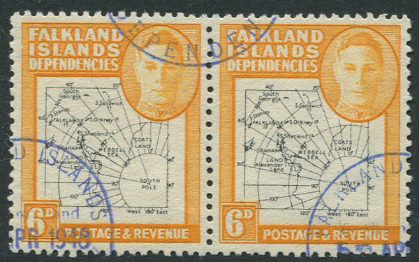 1946-9 Falkland Is. Dependencies Thin map 6d (SG G14)