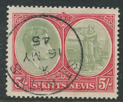 1938-50 St Kitts Nevis perf 14 5/- (SG77a)