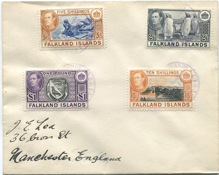 1944 Falkland Is. 2/6d to £1 tied by South Shetlands cds