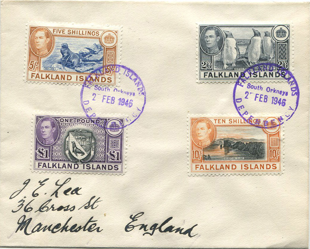 1946 Falkland Is. 2/6d to £1 tied by South Orkneys cds