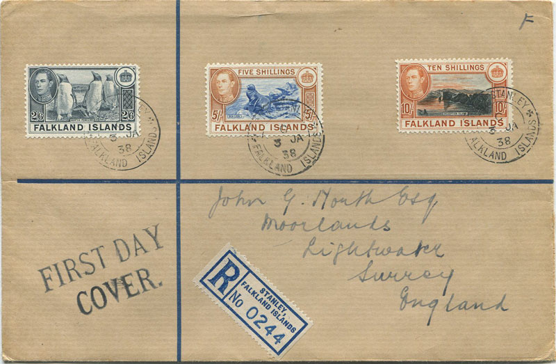 1938  Falkland Is. registered cover to England