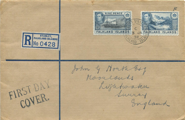 1938 (3 Jan) Falkland Is. registered F.D. cover to England