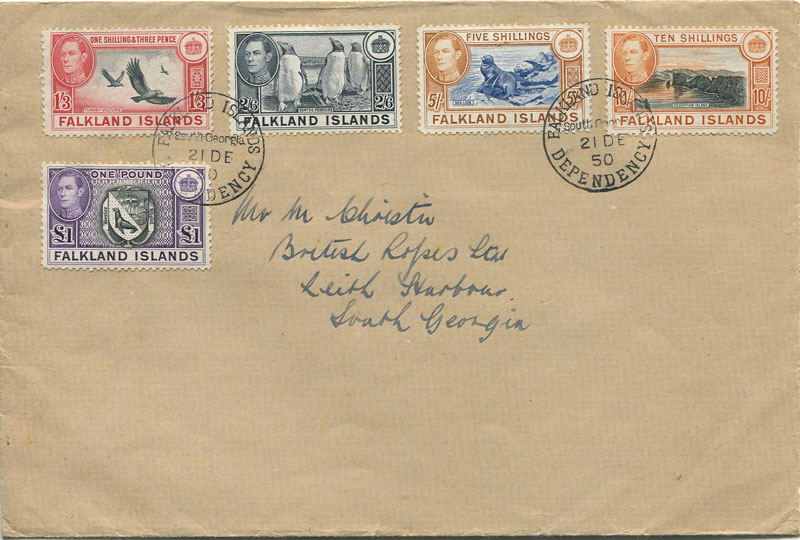 1950 Falkland Is. 1/3d to £1 tied by South Georgia cds