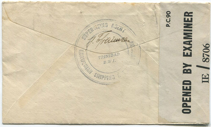 1942 (circa) Trinidad airmail censored cover