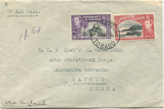 1939 Tobago airmail cover to Burma with 15c franking.