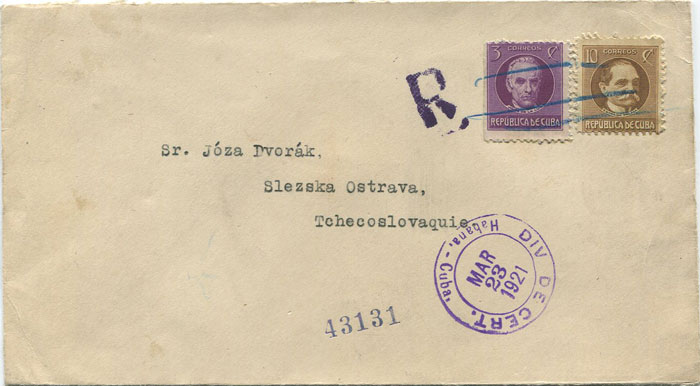 1921 Cuba registered cover to Czechoslavakia with 13c franking.