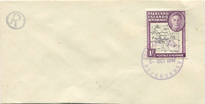 1946-9 Falkland Is. Dependencies 1/- (SG G8)