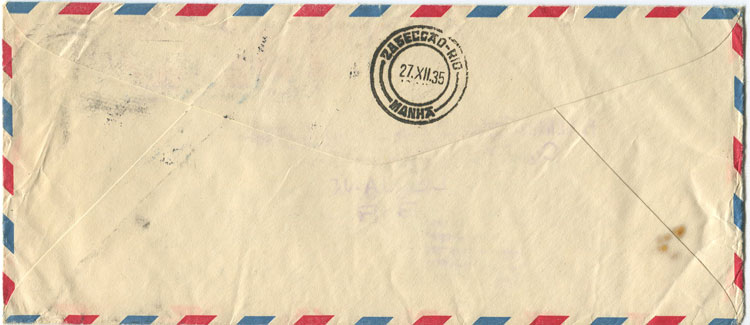 1935 Trinidad Crash mail cover, sent from New York to Brazil