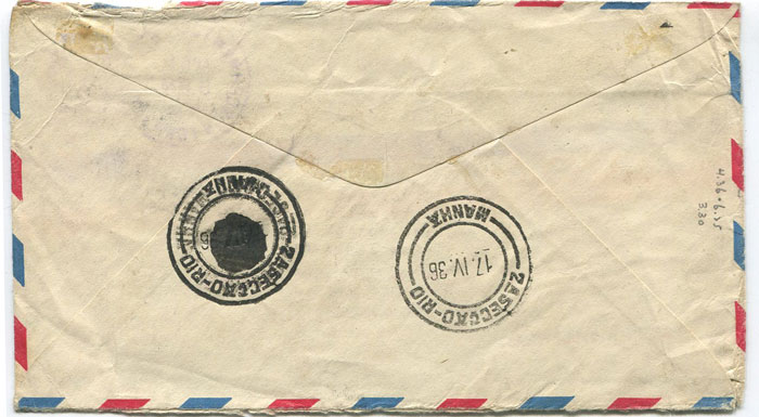 1936 Trinidad Crash mail cover, sent from New York to Brazil