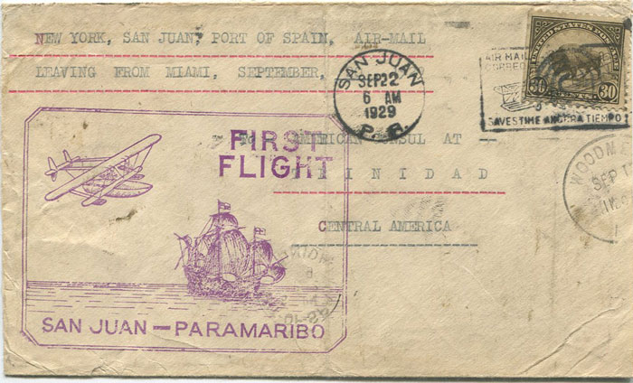 1929 Trinidad Crash mail cover, carried on First Flight cover from San Juan.