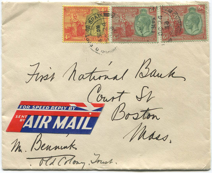 1933 Trinidad airmail cover to U.S.A. with 1/2d franking.