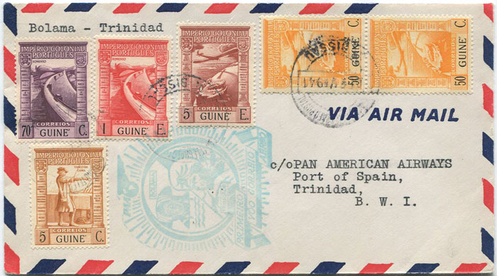 1941 (7 Feb) First Flight cover Bolama, Portuguese Guine - Trinidad
