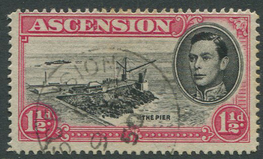 1938-53 Ascension Is. perf 14 1½d with Davit flaw (SG40da)