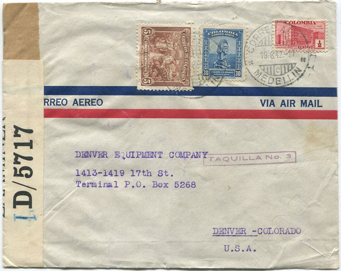 1942 cover with Jamaica transit censor label I.D./5717