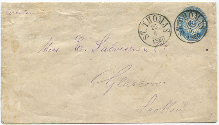 1879 Danish West Indies postal stationery 2c blue envelope (bottom flap under side flaps), (H/G2)