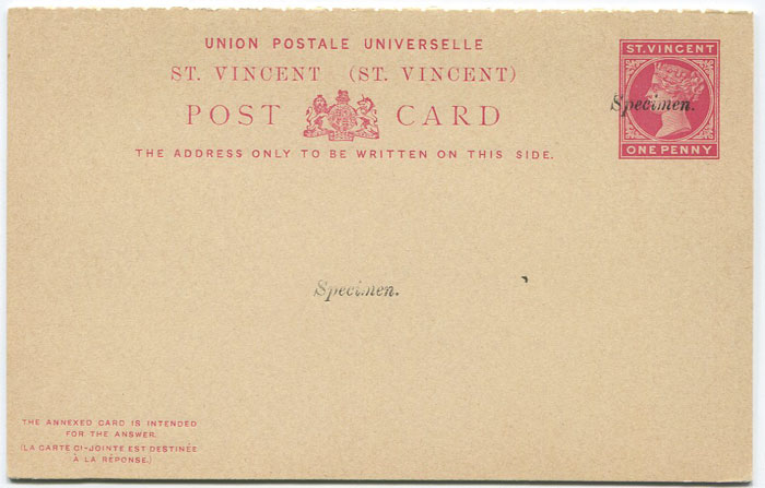 1884-93 St Vincent postal stationery 1d + 1d reply card (H/G4)