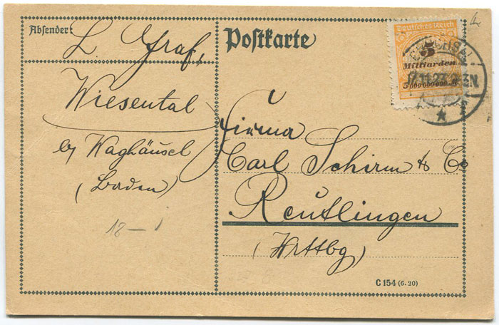 1923 (17 Nov) Germany inflation rate local postcard