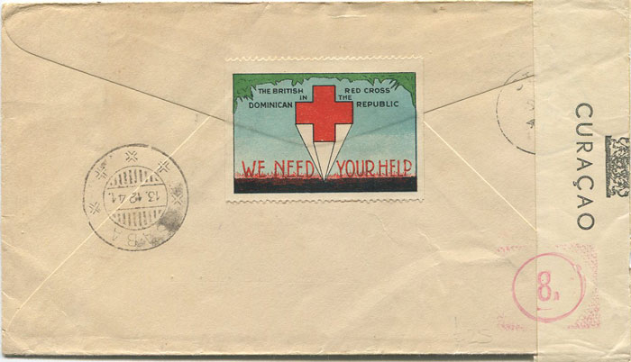 1941 Dominican Republic censored cover to Saba
