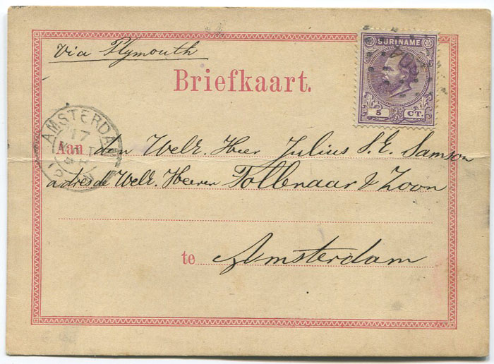 1888 Suriname postal stationery formular card used to Amsterdam