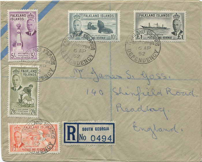 1952 Falkland Is. 1/3d - £1 on registered cover from South Georgia (SG Z89-93)