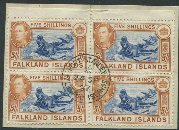 1938-50 Falkland Is. 5/- (SG161)
