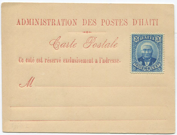 1888 Haiti postal stationery formular card