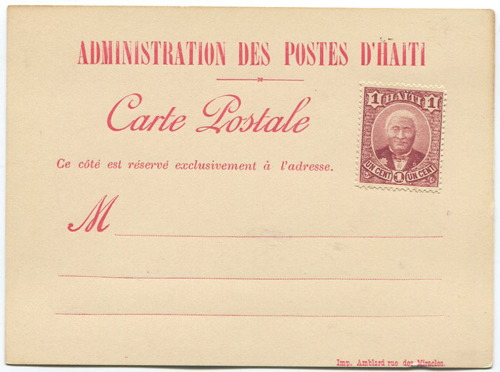 1890 Haiti postal stationery formular card
