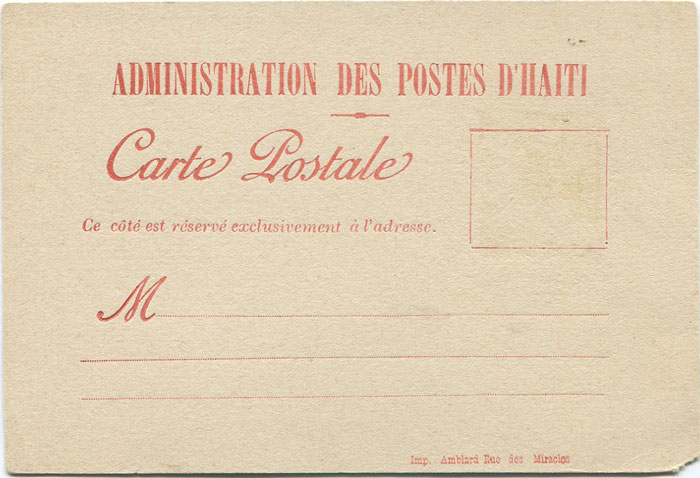 1891 Haiti postal stationery formular card