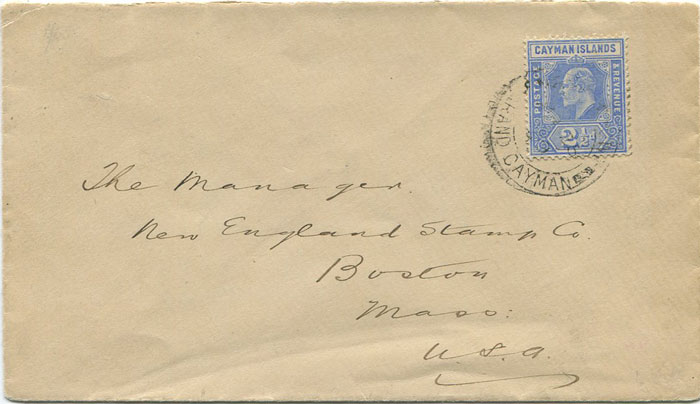 1909 Cayman Islands 2½d (SG27) on cover to U.S.A.