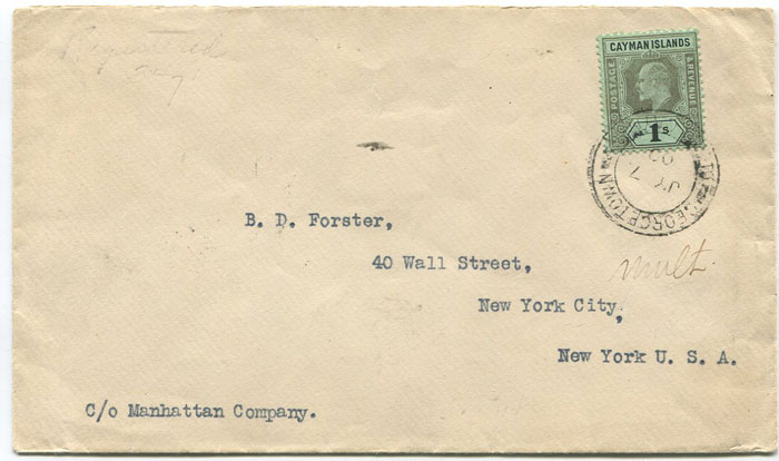 1909 Cayman Islands 1/- (SG31) on cover to U.S.A.