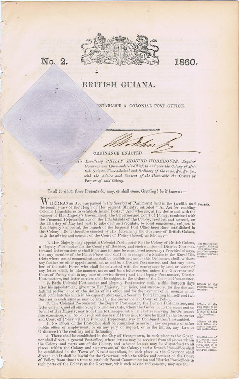 1860 An Act to Establish a Colonial Post Office.