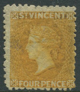 1869 St Vincent perf 11 to 12½, 4d yellow (SG12)